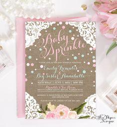 Addie Burlap Lace & Flowers Baby Girl Sprinkle by SeaPaperDesigns