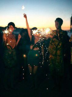 sparklers on beach following dinner