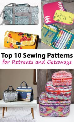 Top 10 bag sewing patterns to make for sewing retreats and getaways.