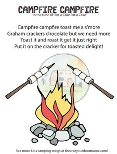 27 Campfire Songs (+Original Kids Songs) The Whole Family Will Love [PDF Printable] – The Crazy Outdoor Mama Camping Songs For Kids, Preschool Camping Activities, Songs For Toddlers, Preschool Songs, Camping With Kids, Kids Songs, Montessori Preschool, Preschool Classroom, Therapy Activities