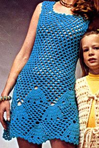 Seashell Shift crochet pattern originally published by Columbia Minerva, Book 2519.