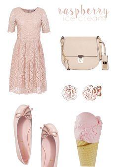 Inspiriert von leckerem Himbeer-Eis: Kleid & Tasche von Hallhuber, Ohrringe von Elli, Ballerinas von Pretty Ballerinas alles via otto.de