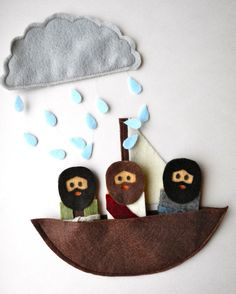 Bible Story finger puppets  Jesus calms the seas by singofsixpence, $16.00 Too cute! Love the full beards :)