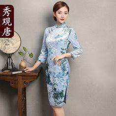 Delightful Floral Print Velvet Cheongsam Qipao Dress - Qipao Cheongsam & Dresses - Women