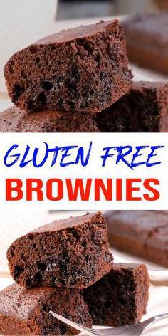 Best Gluten Free Brownies Recipe, Best Gluten Free Desserts, Gluten Free Recipes, Delicious Desserts, Dessert Recipes, Dessert Bars, Yummy Food, Chocolate Brownie Recipe Easy, Gluten Free Chocolate