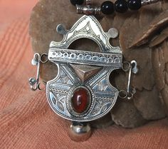 Tuareg Amulet with Carnelean stone Tuareg Silver by TuaregJewelry