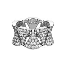 The Diva diamond ring by Bulgari pays tribute to the timeless elegance of stars including Elizabeth Taylor and Audrey Hepburn, that have inspired the jewellery house since the glamorous Dolce Vita years - £12,000 #jewellery #jewelry. See more: http://www.thejewelleryeditor.com/window-shopping/jewellery-for-her/bulgari-divas-dream-ring-white-gold-diamonds/