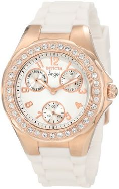 Invicta Women's 1646 Angel Jelly Fish Crystal-Accented 18k Rose Gold-Plated Watch. Rose gold-tone watch with crystal-accented bezel featuring white dial with three textured subdials. 38-mm stainless steel case with flame-fusion dial window. Japanese quartz movement with analog display. White silicone band with buckle closure. Water resistant to 30 m (99 ft): In general, withstands splashes or brief immersion in water, but not suitable for swimming.