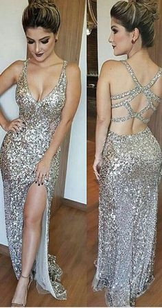 Luxurious Mermaid Prom Dresses,Long Prom Dress,Slit Evening Dress, Deep V-Neck Prom Dresses, Beading Prom Dress, Silver Sequins Prom Dresses, Sexy Party Dress,Prom Dress