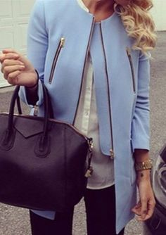 Round Neck Blue Long Sleeve Coat