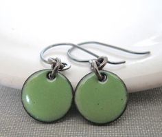 Enameled Earrings Pea Green Enamel Enameled Copper by fiveforty, $24.00