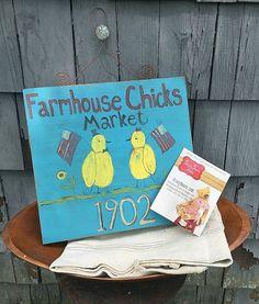 Antique folk art sign  Farmhouse Chicks Market by BradyBearsStudio
