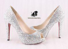 LOSTem Ladies 4 Inch High Heel Pump Shoes of Diamond Open Toe Silver Rhinestone Wedding shoes