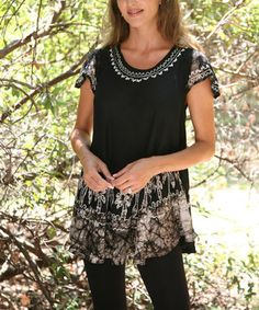 This Black & Beige Embroidered Angel-Sleeve Top - Women by Ananda's Collection is perfect! #zulilyfinds
