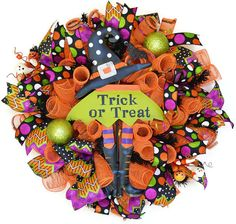 Witch Halloween wreath  Trick or Treat  by EverydaySplendor