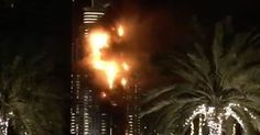 Pictures have emerged on Twitter showing The Address Downtown Dubai hotel engulfed in flames