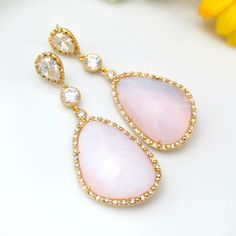 Soft Pink Earrings Large Teardrop Dangle by BeYourselfJewelry