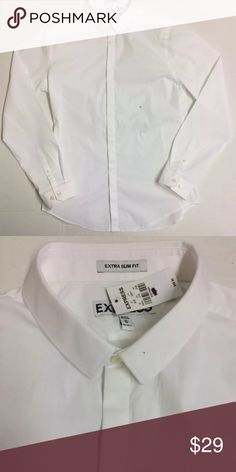 Express -White Button Down SHIRT L/Sleeve Size M Express - Mens White Button Down SHIRT L/Sleeve -Cotton Medium. NWD. Tiny spot in collar. Express Shirts Dress Shirts