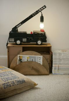 Upcycled/recycled toy fire truck lamp // Eclectic by Jasmine Orchard Styling Baby Boy Rooms, Kids Rooms, Beautiful Interior Design, Fire Engine, Condos For Sale, Kid Spaces, Fire Trucks, Repurposed, House Styles
