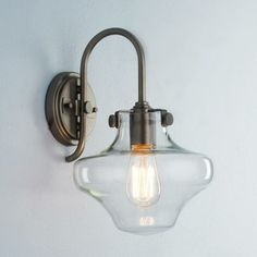 Image of Terrific Living Room Wall Sconce Using Filament Bulbs Lamps in Glass Light Shades with Brass Arm Lamp Mounted on Round Backplate