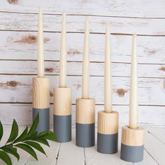 Pinewood and Grey Dipped Candle Holder Set