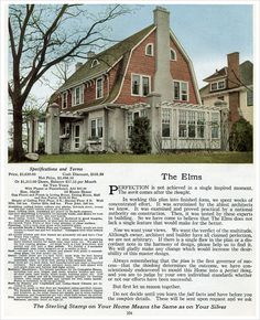 The Elms - 1916 Sterling System home by International Mill & Timber - Dutch Colonial Revival Dutch Colonial Exterior, Dutch Colonial Homes, Colonial House Plans, Vintage House Plans, Vintage Homes, Sterling Homes, House Plans With Photos, Small House Floor Plans, Gambrel Roof