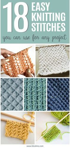 KNITTING FOR BEGINNERS: 18 Easy Knitting Stitches You Can Use for Any Project; Learning to knit can be completely overwhelming but our list of 18 easy knitting stitches you can use for any project will have you knitting up a storm.Go check it out. Knitting Stiches, Loom Knitting, Knitting Patterns Free, Free Knitting, Crochet Patterns, Easy Patterns, Knitting Tutorials, Knitting And Crocheting, Types Of Knitting Stitches