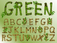 Picture of Natural Green Theme Bamboo Font stock photo, images and stock photography. Caligraphy Alphabet, Typography Letters, Font Alphabet, Jungle Clipart, Nature Font, Free Fonts Download, Font Free, Digital Paper Free, Green Theme