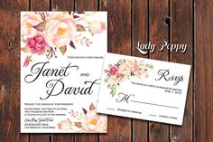 Whimsical Floral Janet Wedding Invitation, Rustic, Bohemian,botanical, Watercolor, Romantic flowers - DIY Invitations - Customizable text
