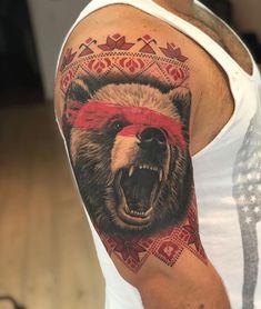 Romanian 'Teddy Bear'- Realism Black and Grey Bear with Traditional Romanian patterns Bear Tattoos, Body Art Tattoos, Print Tattoos, Small Tattoos, Cool Tattoos, Tatoos, Tattoo Skin, Mask Tattoo, Dracula Tattoo