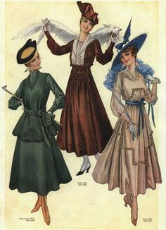 Riding habit (left) and day dresses 1916  by dovima_is_devine_II, via Flickr