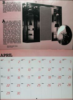 April from a 1984 calendar that is also a calendar tribute to 1984.