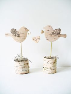 Wedding Cake Topper Birch Bark Birds Mr & Mrs