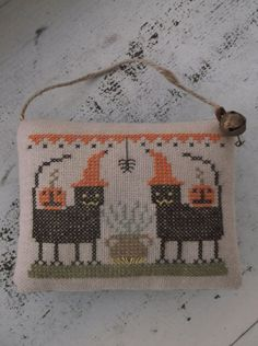 Completed Cross Stitch Halloween Ornament by pumpkinmoonprims