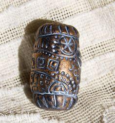 Selena Wells - Geometric Textured Metallic Bronze Cylinder Bead