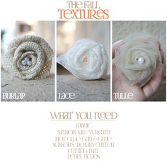 Burlap, Lace,  Tulle Roses (wreath tutorial too)  What do you think of mixing some other fabrics / pearls, etc. with the burlap?