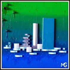 WATER WORLD *SOLD *  [24x24] Convenience Store, Water, Art, Convinience Store, Gripe Water, Art Background, Kunst, Gcse Art, Aqua
