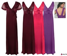 SATIN LONG CHEMISE NIGHT DRESS NIGHTDRESS NIGHTIE SLIP ROBE GOWN 8-16 in Clothes, Shoes & Accessories, Women's Clothing, Lingerie & Nightwear | eBay