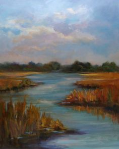 """Carolina Wetlands""   -     Marta L. Suárez  Copyright  2011   -    30"" x 24""  Oil on stretched canvas    -  Available"