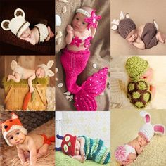 Новорожденных Милые Животные младенца Вязания Крючком костюм фотография реквизит вязание шляпа младенческая baby фотография реквизит новорожденного девушки наряды