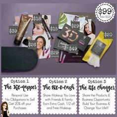 Younique's Presenter's Kit has been revamped! Have you been dreaming of running your own business? Working from home? Getting paid to play with makeup and take selfies?! If so, don't miss out on this unbelievable Presenter's Kit that includes all you see here for $99! (A $225 Value!!) You also receive your own Website where you'll have instant access to Younique's Virtual Party System! PLUS... Once your commissions reach $50, you get your own Younique Debit Card!