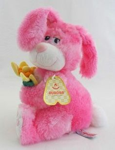 "10"" Aurora Plush Bashful Bunny Pink Easter Rabbit Stuffed Animal Toy Flower 
