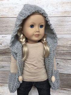 CROCHET PATTERN 18 inch Doll Hooded Pocket Scarf by FuzzyBundle