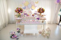 overview of Enchanted Butterfly Garden Birthday Party Butterfly Garden Party, Butterfly Baby Shower, Butterfly Birthday, 50th Party, 1st Birthday Parties, Birthday Decorations, Baby Shower Decorations, Garden Birthday, Garden Theme