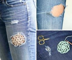 How to Patch Jeans with Crochet Lace - - How to Patch Jeans with Crochet Lace Crochet Give your jeans a boho facelift! Learn how to patch jeans with crochet lace in this simple tutorial. Gilet Crochet, Crochet Trim, Easy Crochet, Crochet Lace, Embroidery Floss Projects, How To Patch Jeans, Make And Do Crew, Mode Crochet, Denim Crafts