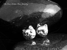 Recycled Silver Cat Kitty Kitten Post Earrings