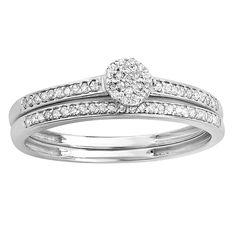 Elora 10k White Gold 1/5ct TW Diamond Bridal Set (I-J, I2-I3) (Size 8.5, White Gold), Women's