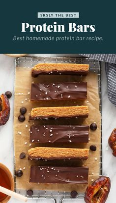 This peanut butter protein bar recipe packs in 6g protein per bar, is naturally gluten-free, and tastes like dessert! Peanut Butter Protein Bars, Best Protein Bars, Protein Bar Recipes, Healthy Cookie Recipes, High Protein Snacks, Snack Recipes, Protein Power, Paleo Treats, Healthy Cookies