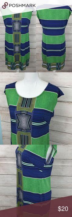 465d40085b99f SALE Laundry Shelli Segal Striped Dress Laundry by Shelli Segal Cap sleeve  shift dress Blue green stripe