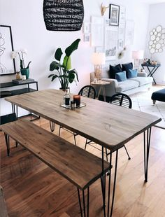 home Reclaimed Wood & Metal Dining Table - Farmhouse Table, Rustic Dining Table Reclaimed Wood Dining Table, Dining Table With Bench, Rustic Table, Hairpin Dining Table, Industrial Dining, Dining Room Design, Farmhouse Table, Apartment Living, Living Room